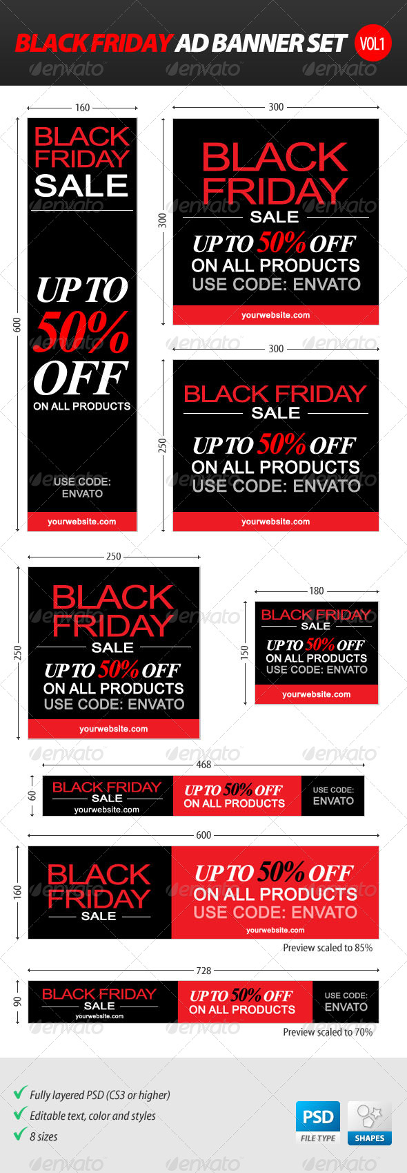 GraphicRiver Black Friday Ad Banner Set vol.1 6254644