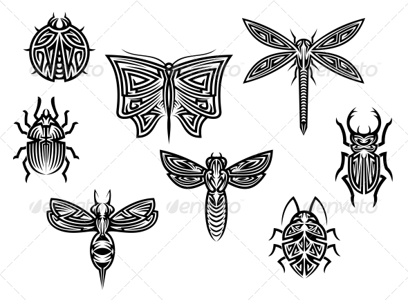 GraphicRiver Tribal Insect Tattoos Set 6254699