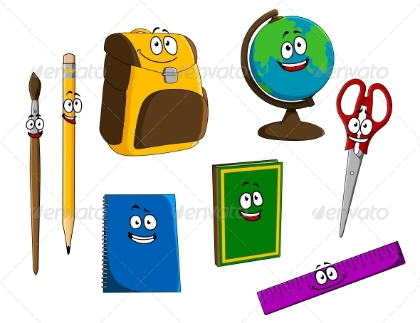 GraphicRiver Cartoon School Objects 6254704