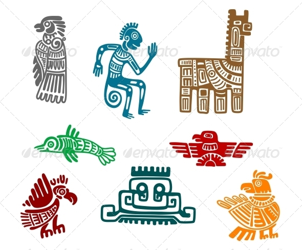 GraphicRiver Aztec and Maya Ancient Drawings 6254708