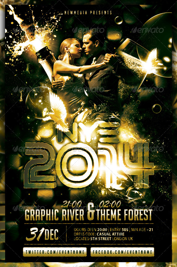 Champagne / New Year Eve Party Flyer / Poster | GraphicRiver