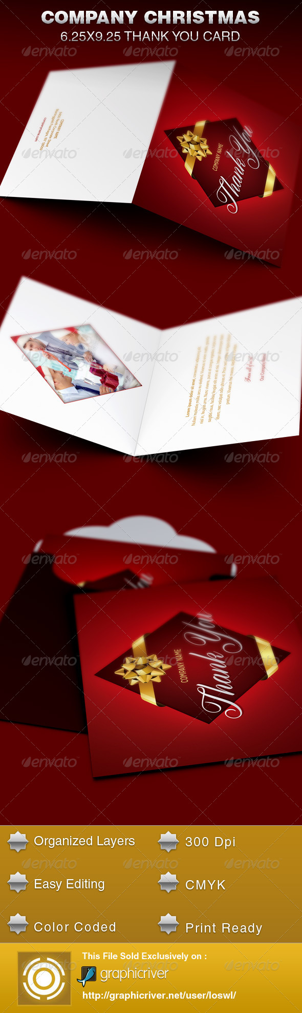 GraphicRiver Company Christmas Thank You Card Template 6255076
