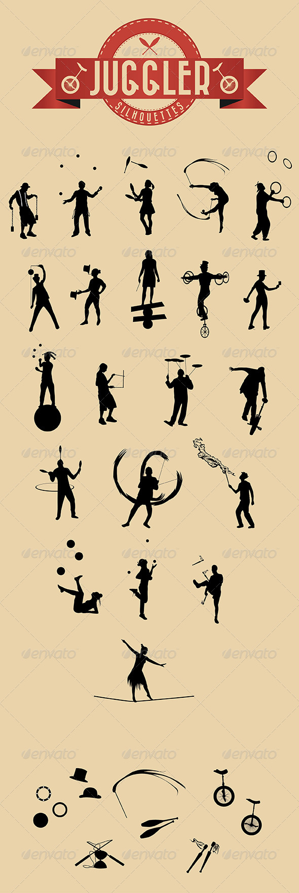 GraphicRiver 21 Jugglers Vector Silhouettes 6255096