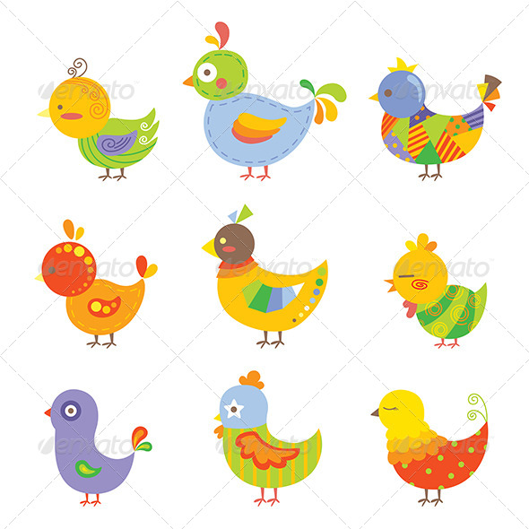 GraphicRiver Colorful Chickens 6255237
