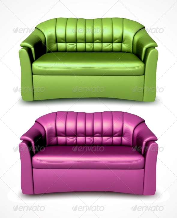 GraphicRiver Green and Pink Vector Sofas 6255366