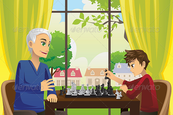 GraphicRiver Grandfather and Grandson Playing Chess 6255969