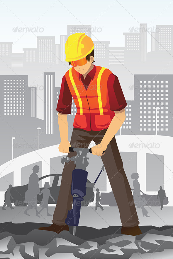 GraphicRiver Road Construction Worker 6256006
