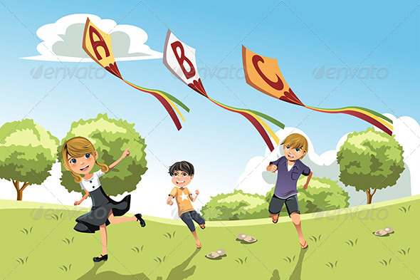 GraphicRiver Kids with Alphabet Kites 6256102