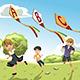 Kids with Alphabet Kites