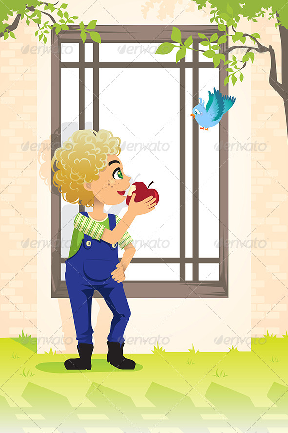 GraphicRiver Boy Eating Apple 6256331