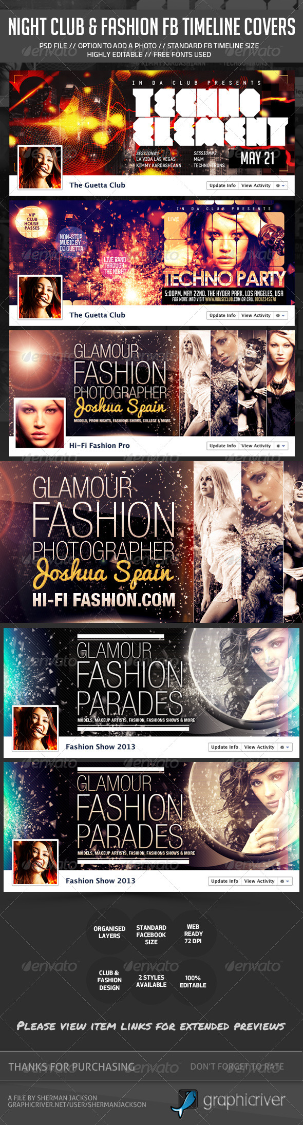 GraphicRiver Night Club Fashion Glamour Fb Timeline Covers Bundle 6256390
