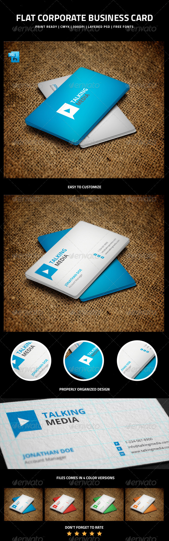 GraphicRiver Flat Corporate Business Card 6256402