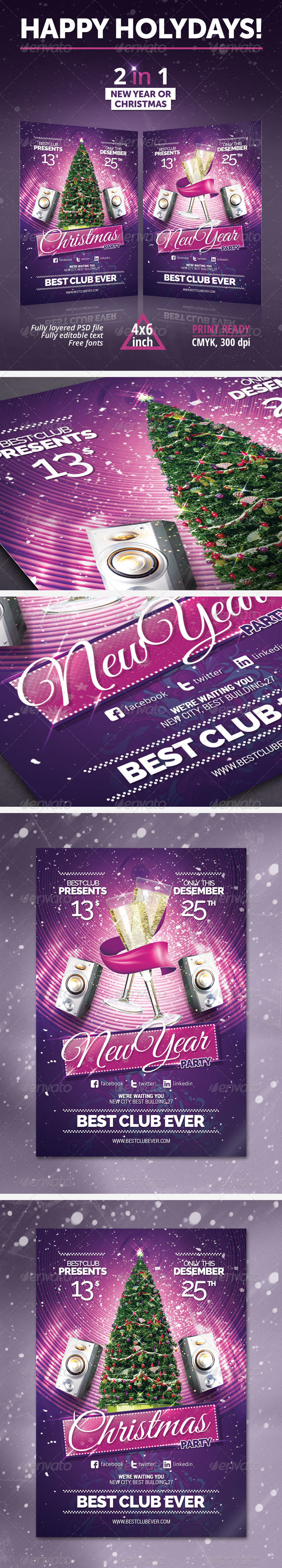New Year, Christmas Party Flyer
