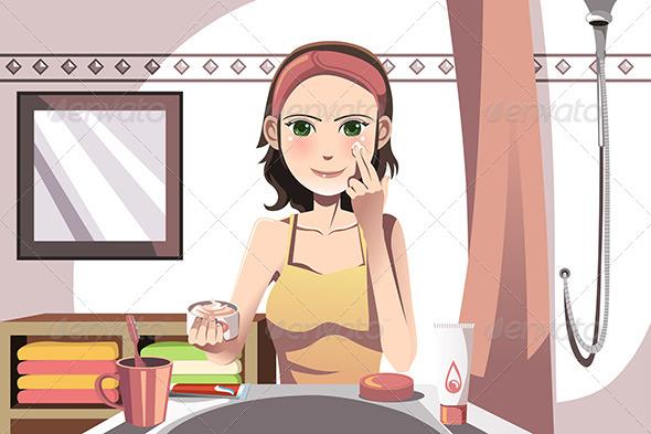 GraphicRiver Woman Applying Cream 6256963