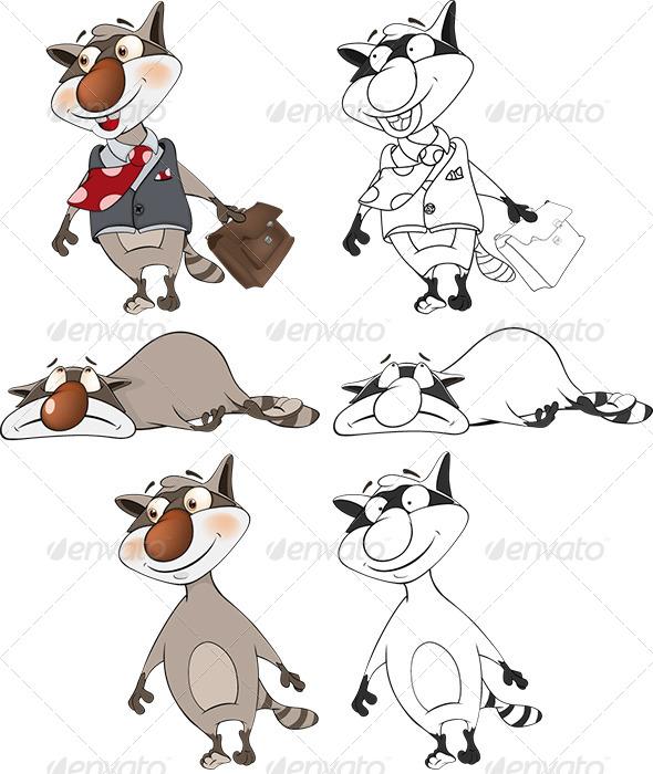 GraphicRiver Raccoons Clip Art Cartoon 6257042