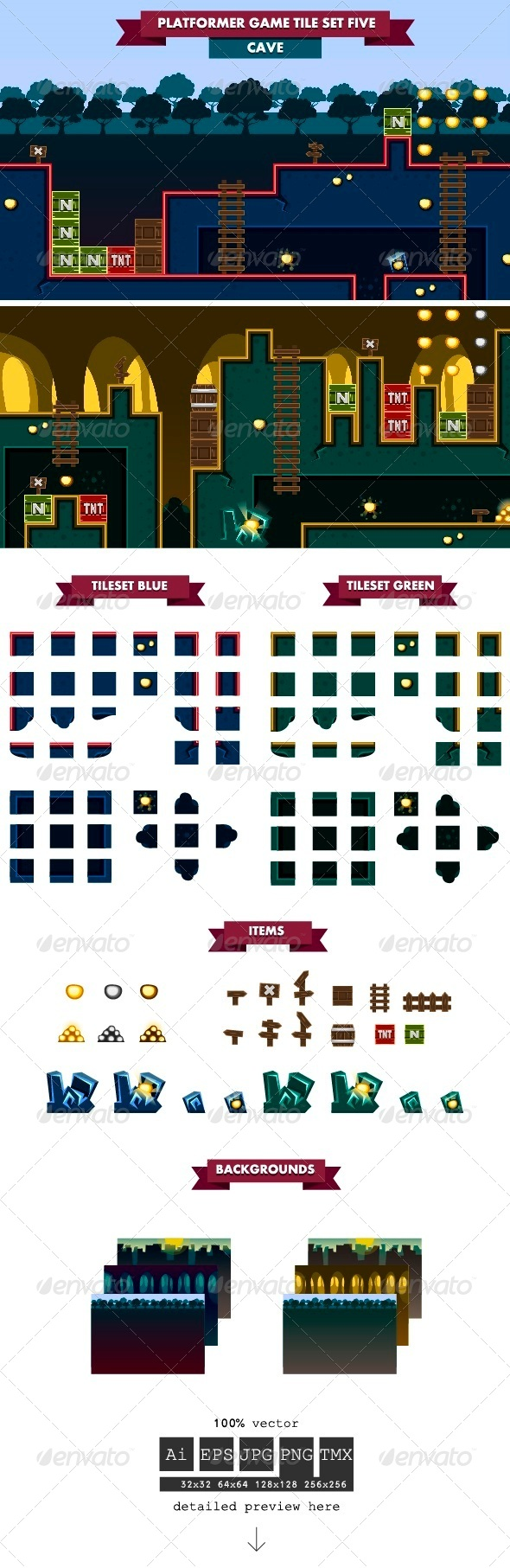 GraphicRiver Platformer Game Tile Set Five 6257141