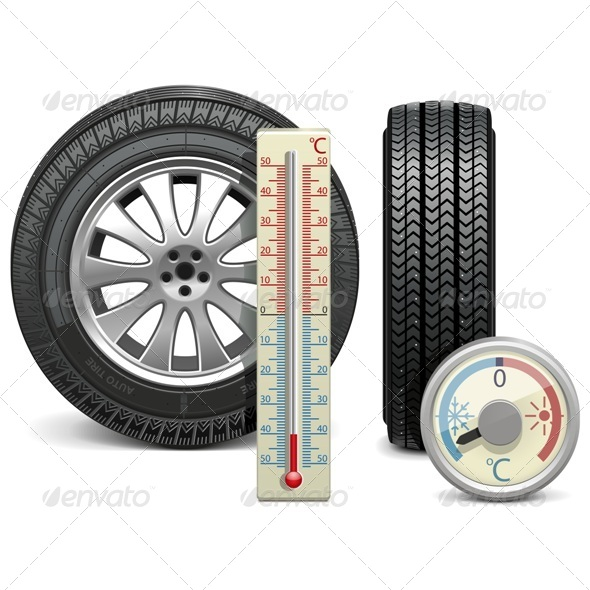 GraphicRiver Vector Winter Tire and Thermometer 6257154