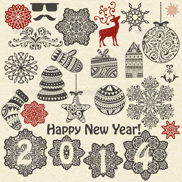 GraphicRiver Vector Christmas and New Year Design Elements 6257720