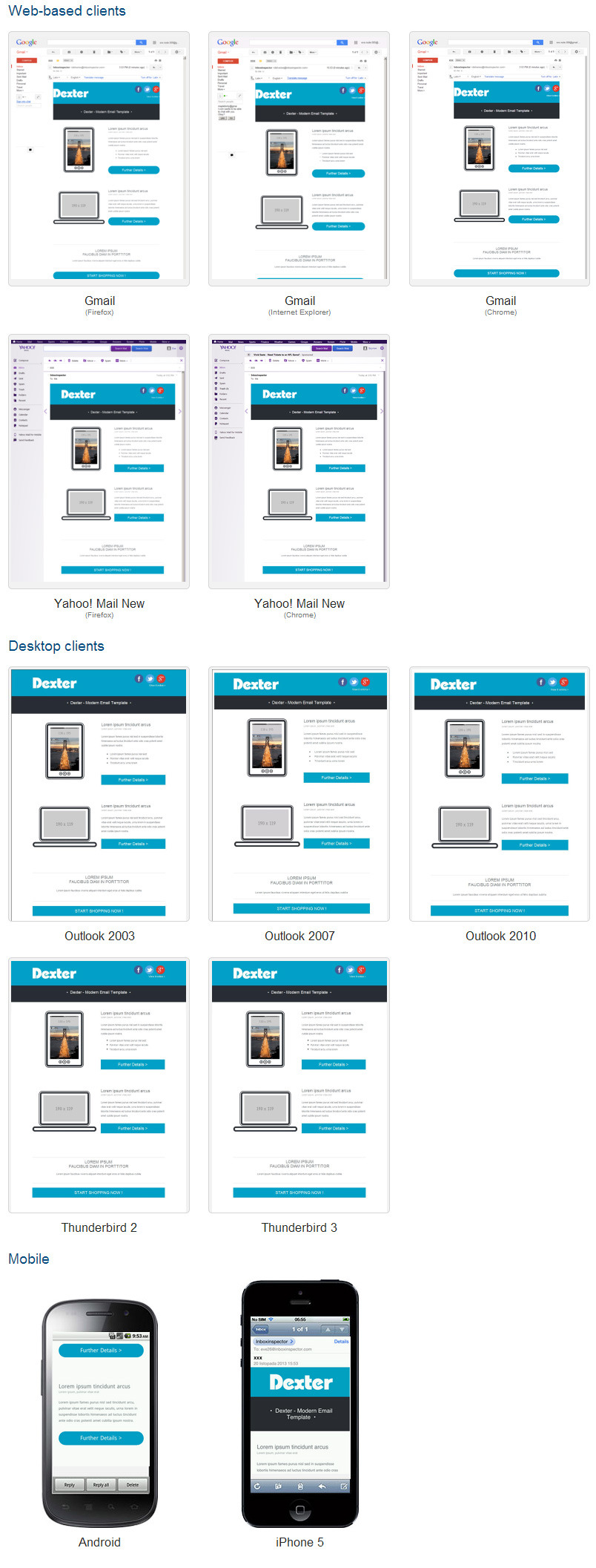Dexter - Responsive HTML Email Template Pack