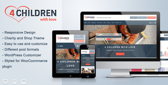 ThemeForest 4 Children With Love-Charity WP Theme 6258729