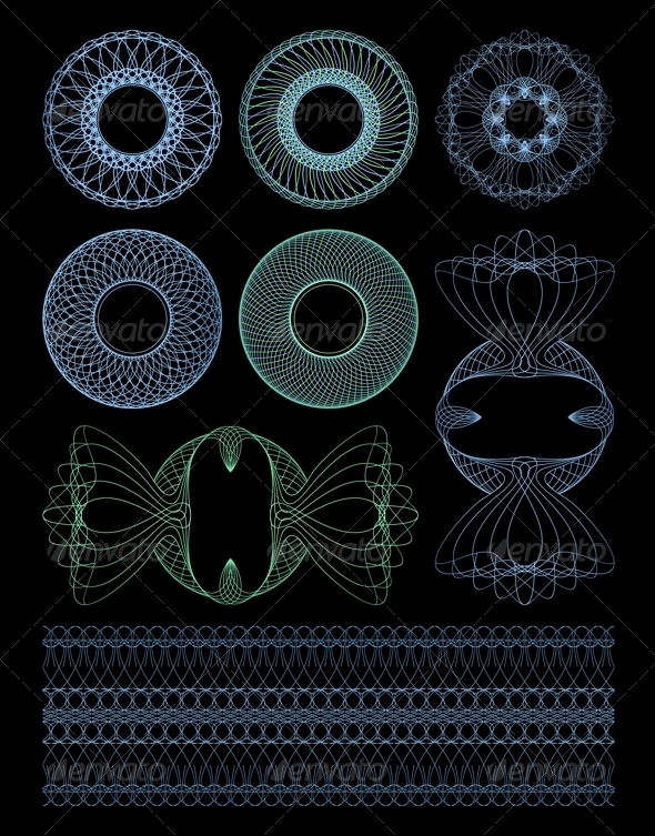 Decorative Rosettes Guilloche. - Borders Decorative
