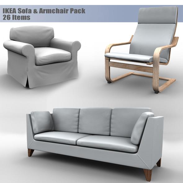 3DOcean IKEA Sofa & Armchair Pack 6253705