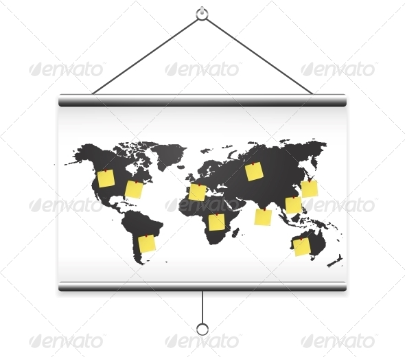 GraphicRiver Projector Screen Map World and Note 6261537