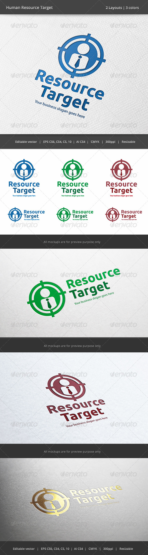 GraphicRiver Human Resource Target Logo 6261566