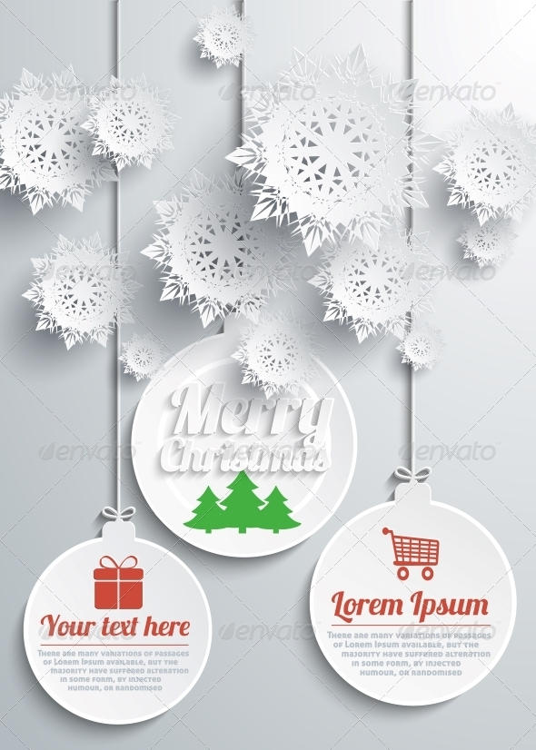 GraphicRiver Paper Snowflakes Merry Christmas Text with Balls 6261766