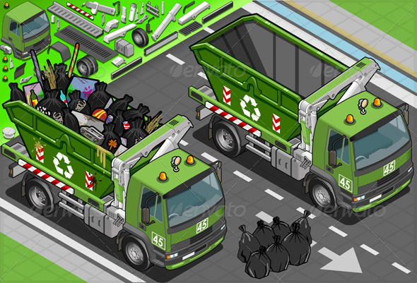 GraphicRiver Isometric Garbage Truck with Container in Front 6261820