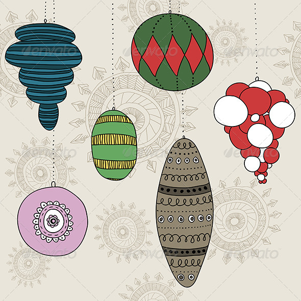 GraphicRiver New Year Baubles Set 6262385