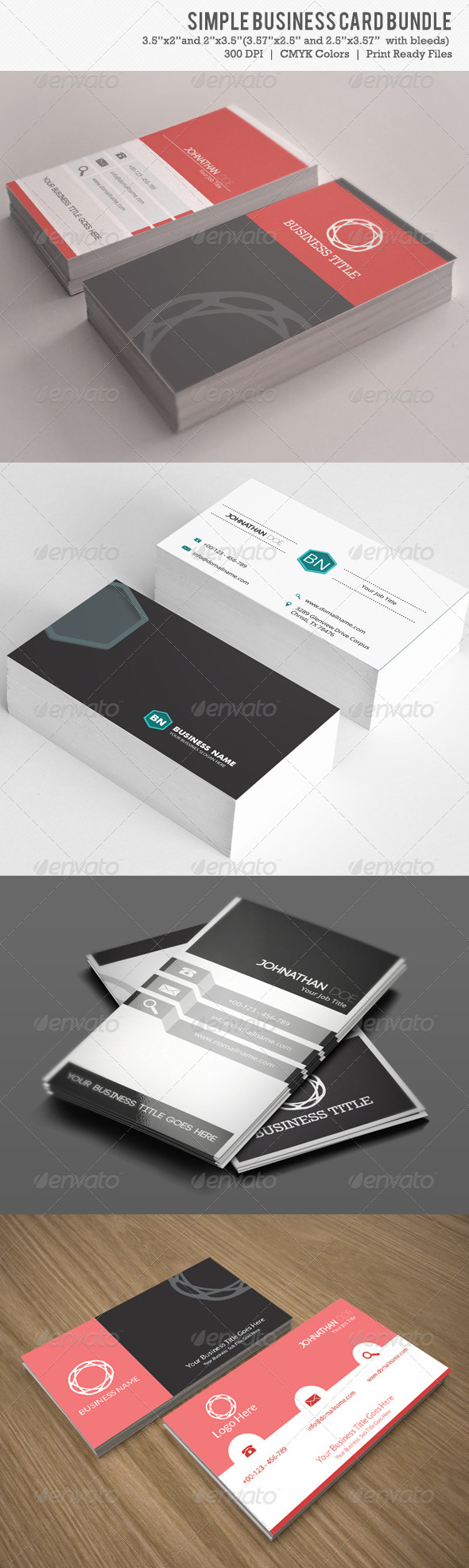 GraphicRiver Simple Business Card Bundle 4 IN 1 6262599