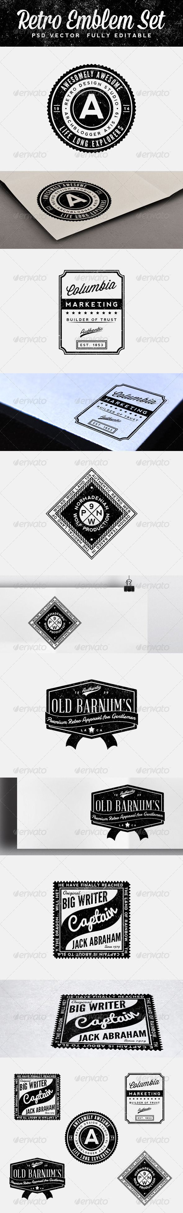 GraphicRiver Retro Emblem Set 6263001