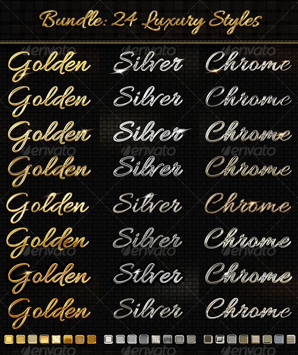 Bundle 24 Luxury Styles: Golden, Silver & Chrome - Text Effects Styles