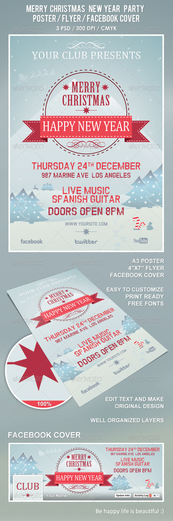 GraphicRiver Christmas New Year Party Poster Flyer Facebook 6227277