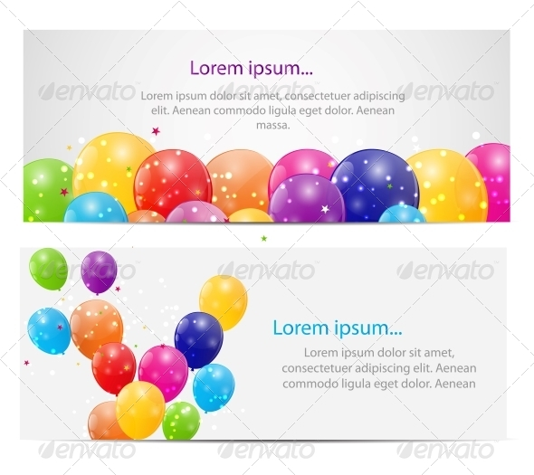 GraphicRiver Color Glossy Balloons Card Background 6264731