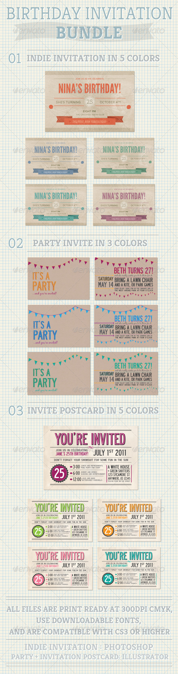 Birthday Invitation Bundle - Birthday Greeting Cards
