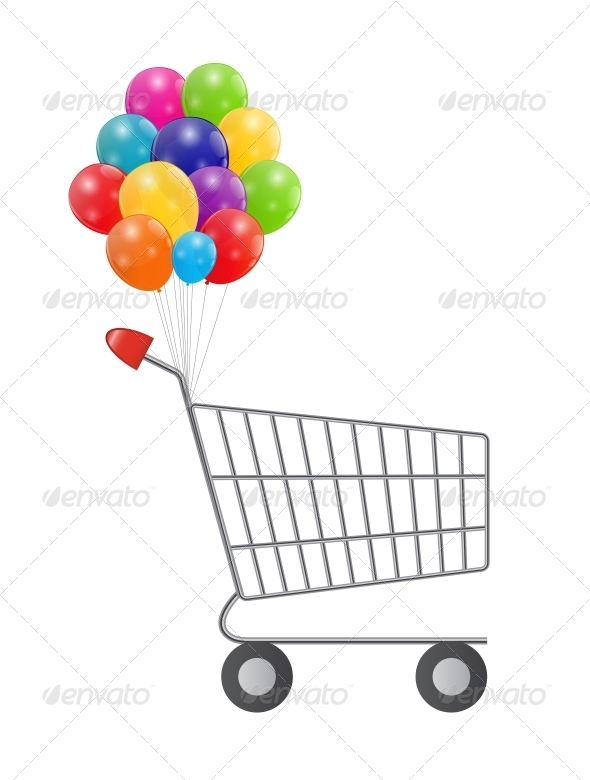GraphicRiver Empty Supermarket Shopping Cart with Balloons 6264771