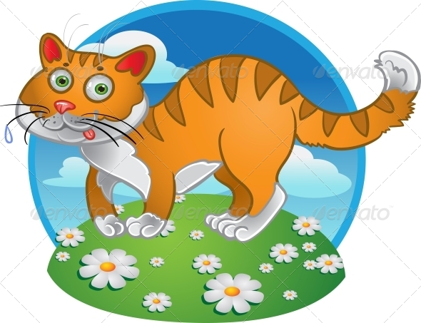 GraphicRiver Orange Fun Cat on Color Background 6265553