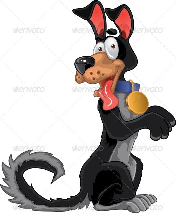 GraphicRiver Friendly Fun Black Dog 6265586