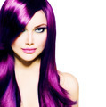 Beautiful Girl with Healthy Long Purple Hair and Blue Eyes - PhotoDune Item for Sale