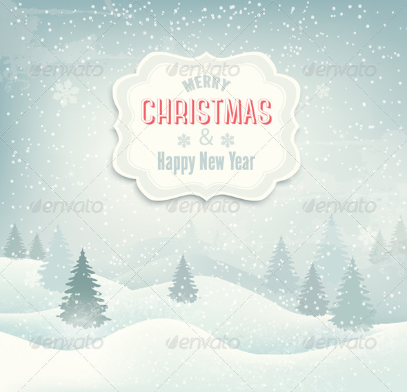 GraphicRiver Retro Holiday Christmas Background 6266218