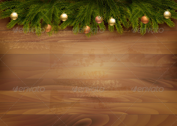 GraphicRiver Christmas Decoration on Wooden Background 6266235