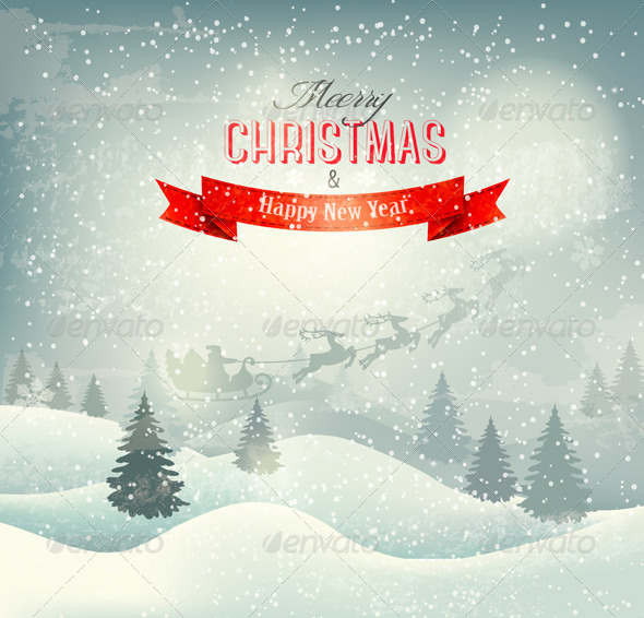 GraphicRiver Christmas Winter Landscape Background 6266278