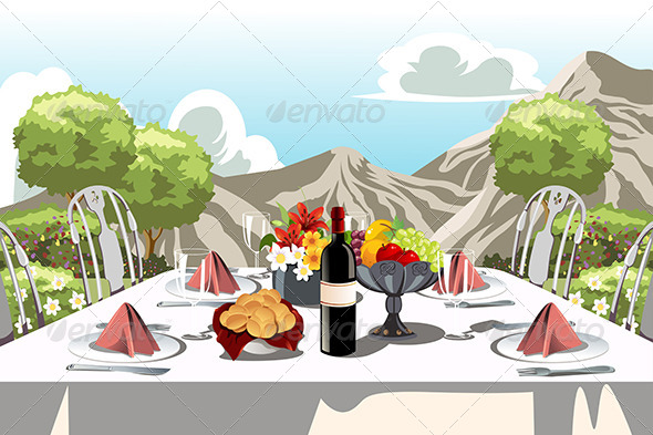 GraphicRiver Garden Party Table Arrangement 6266296
