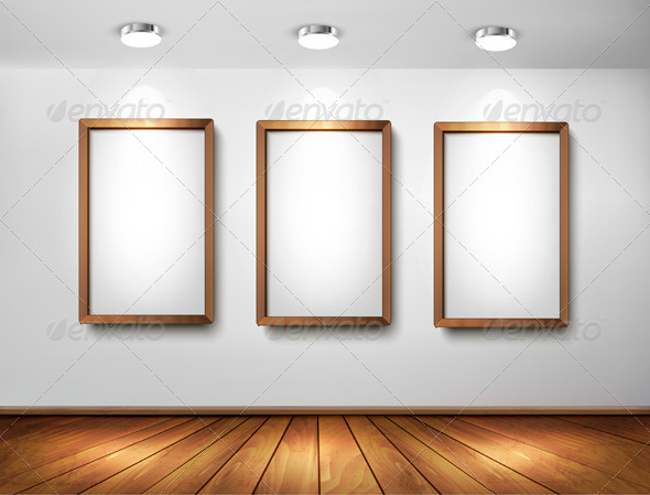 GraphicRiver Empty Wooden Frames on Wall with Spotlights 6266299