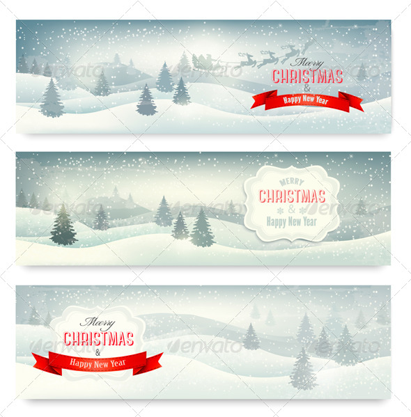 GraphicRiver Three Christmas Landscape Banners 6266342