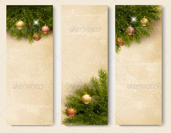 Three Retro Holiday Banners with Christmas Tree