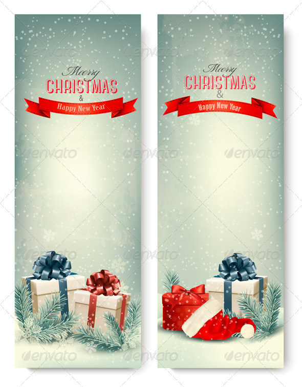 GraphicRiver Two Retro Holiday Banners with Gift Boxes 6266367
