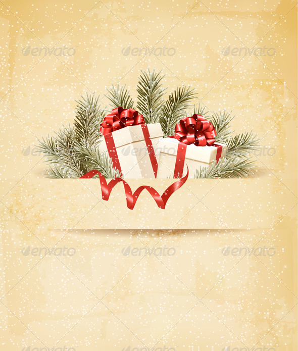 GraphicRiver Holiday Background with Ribbon and Red Gift Boxes 6266384